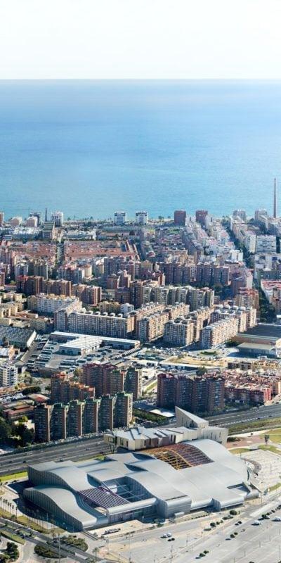 Vista aérea de Fycma y el Mediterráneo