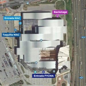 Plano edificio de FYCMA con entradas al MAC